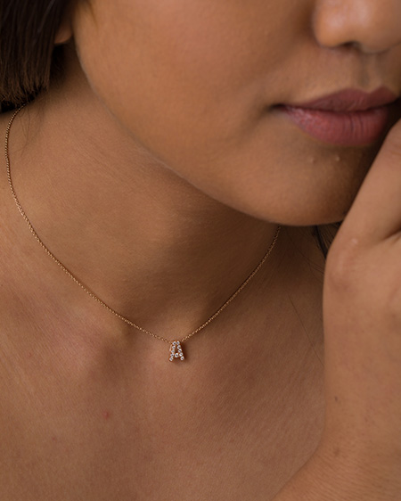14k rose gold initial pendant necklace