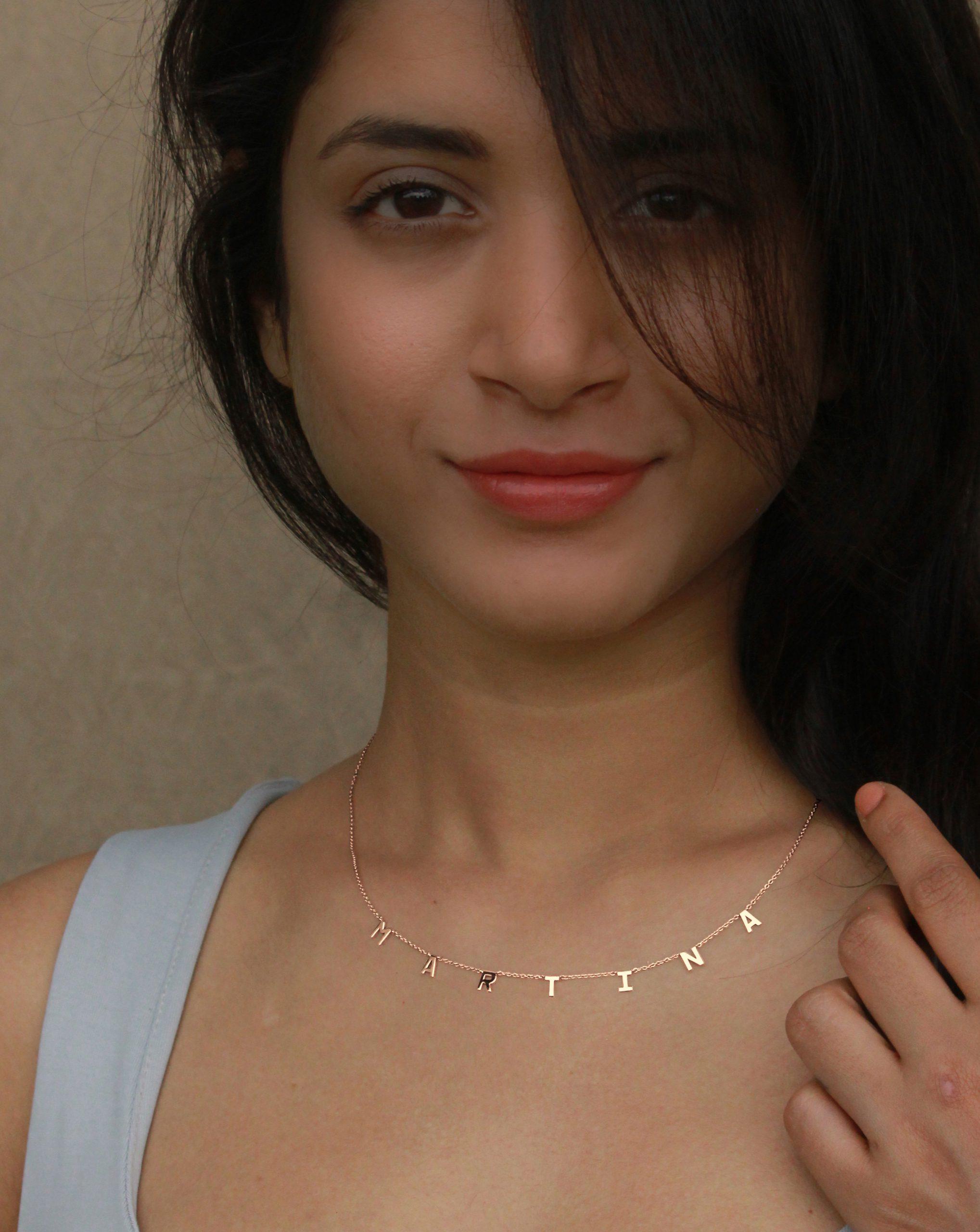 gold letter necklace online